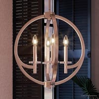 """Luxury Globe Pendant or Chandelier, 19.5""""H x 18""""W, with Old World Style, Orbital Sphere Design,Brushed Nickel Finish"""