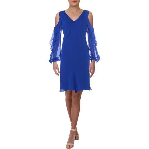 Lauren Ralph Lauren Womens Paiva Cocktail Dress Ruffled Cold Shoulders