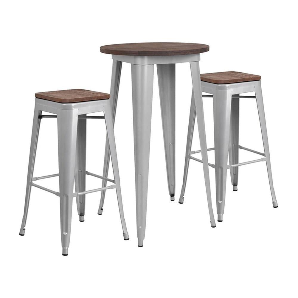 Stupendous Offex 24 Round Silver Metal Bar Table Set With Wood Top And 2 Backless Stools Ibusinesslaw Wood Chair Design Ideas Ibusinesslaworg