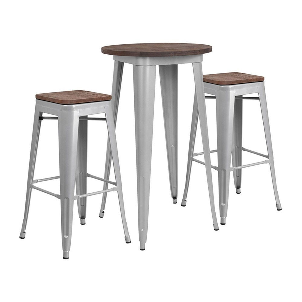 Pleasing Offex 24 Round Silver Metal Bar Table Set With Wood Top And 2 Backless Stools Machost Co Dining Chair Design Ideas Machostcouk