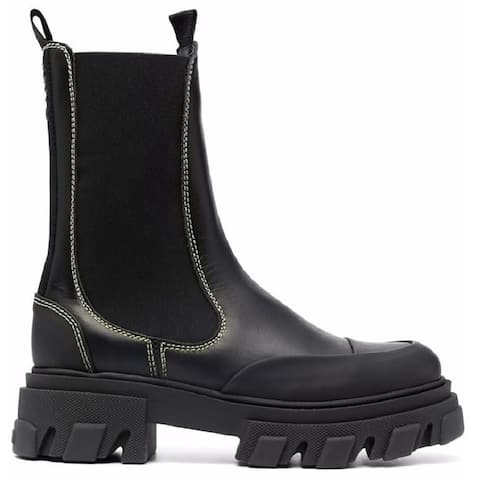 Ganni Womens Black Mid Chelsea Ankle Boots