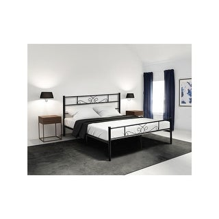 Queen Size Easy to Set-up Metal Bed Frame Platform Mattress Foundation Bedroom Bedroom Furniture With Headboard