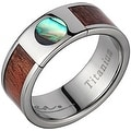 Titanium Wedding Band With Koa Wood & Circular Abalone Inlay 8mm - Thumbnail 0