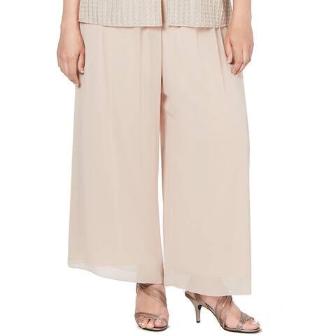 Alex Evenings Women's Dress Pants Classic Beige Size 3X Plus Wide Leg