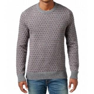 Tommy Hilfiger NEW Gray Red Men Medium M Pullover Knit Crewneck Sweater