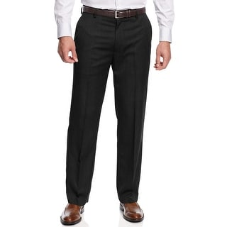 Haggar Mens Sharkskin Flat Front Dress Pants Black 32 x 34