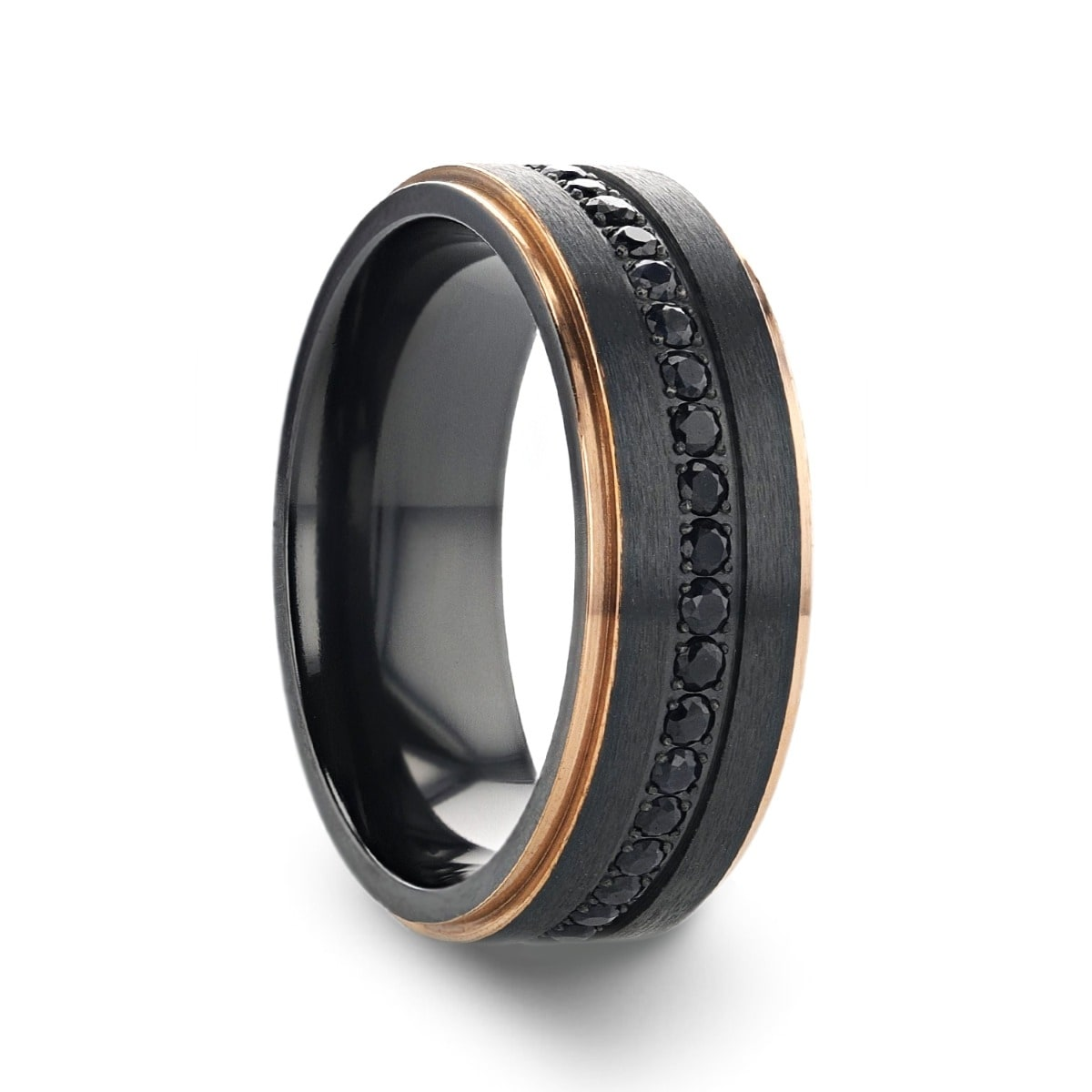 Shop Thorsten Astro Titanium Rings For Men Flat Brushed Ring With Rose Gold Plated Inside And Black Sapphire Settings 8 Mm On Sale Overstock 26967091