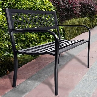 Costway Patio Park Garden Bench Porch Path Chair Outdoor Deck Steel Frame