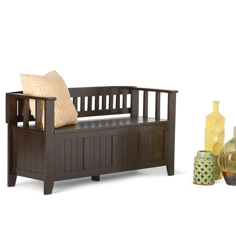 WYNDENHALL Normandy SOLID WOOD 48 inch Wide Transitional Entryway Storage Bench