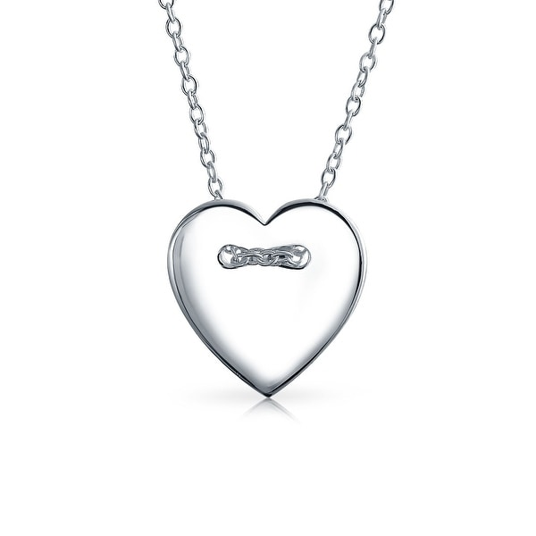 a8762936afed Basic High Polish Heart Shape Slide Pendant Engravable 925 Sterling Silver  Necklace For Women With Chain