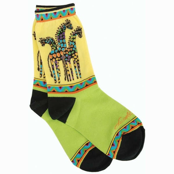 Laurel Burch Socks-Giraffes - Yellow & Green
