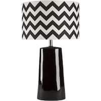 "24"" Ebony Black Ceramic Table Lamp with Black and White Chevron Modified Drum Shade"