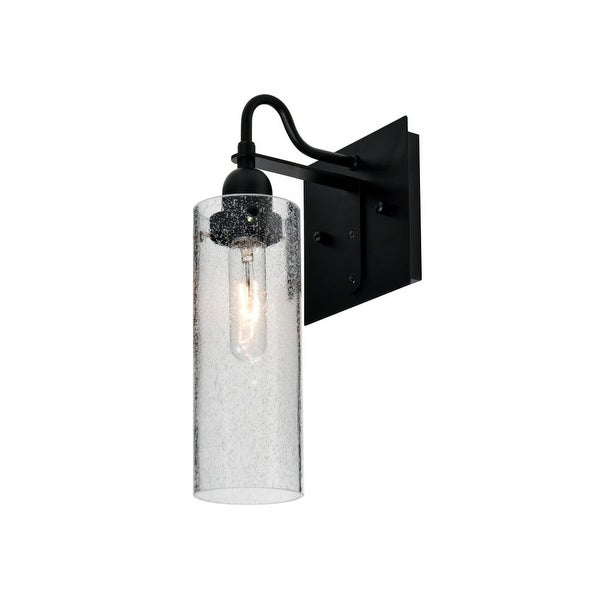 Besa Lighting 1WG-JUNI10CL Juni Single Light Wall Sconce with Clear Bubbled Glass Shade - Black
