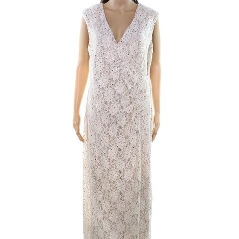 Connected Apparel Womens Floral Lace Gown Dress