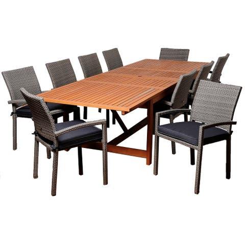 Winston 11-Piece Outdoor Dining Set Eucalyptus Wicker Extendable Rectangular Patio Furniture with Grey Cushions
