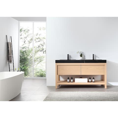 "BIOS 60"" Chestnut/Whitewash Freestanding Modern Bathroom Vanity Set"