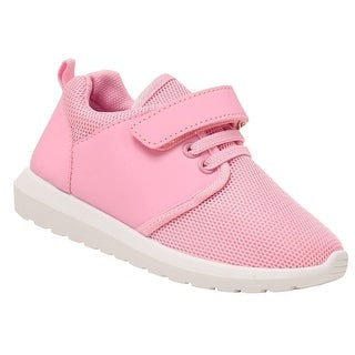 Anne Marie Girls Pink Hook-And-Loop Strap Lace-Up Closure Sneakers