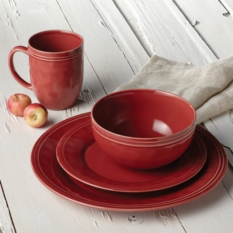 Rachael Ray 55096 Cucina Dinnerware 16-Piece Stoneware Dinnerware Set Cranberry Red & Rachael Ray 55096 Cucina Dinnerware 16-Piece Stoneware Dinnerware ...