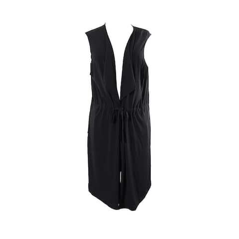 Alfani Black Long Tie-Front Vest L
