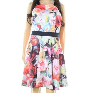 Ted Baker NEW Pink Womens Size 10 Floral Print Scuba A-Line Dress