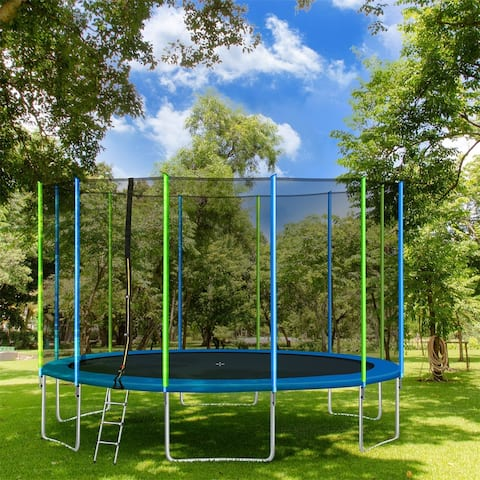 Merax Round Outdoor Recreational 16FT Trampoline with Safety Enclosure Net, Ladder and 12 Wind Stakes