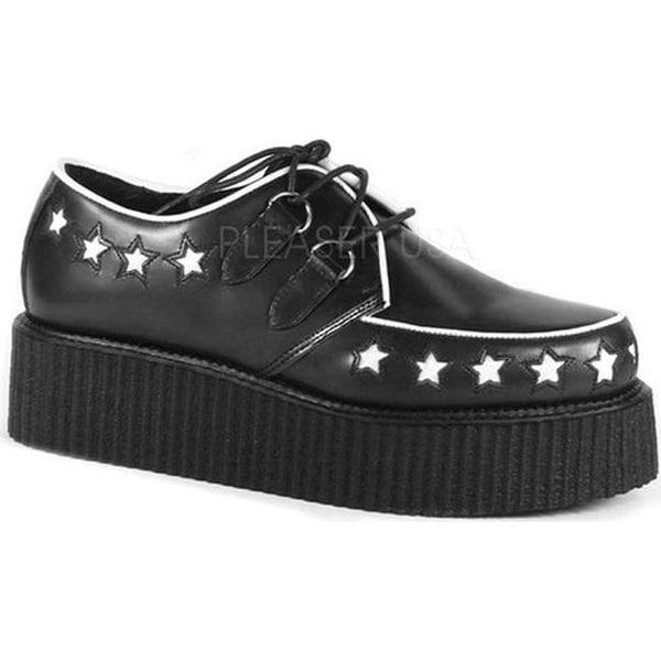 Demonia Men's Creeper 416 Oxford Black Leather/White Stars