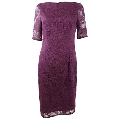 Adrianna Papell Women's Rosa Lace Dress (6, Rich Raisin)