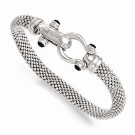 Italian Sterling Silver and Onyx Mesh Bracelet - 8 inches