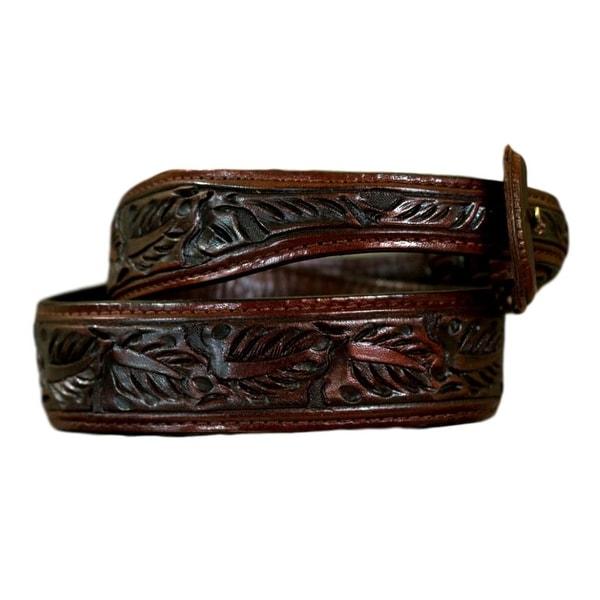 Vogt Silversmiths Western Belts Mens Skived Leaf Saddle Brown