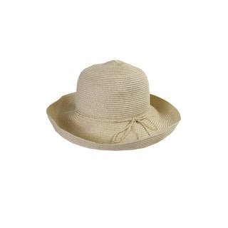 August Hat Beige Lurex Classical Toyo Kettle Sun Hat OS