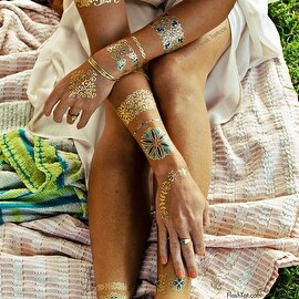 Flash Tattoos Isabella metallic temporary jewelry tattoos-4 sheet pack (Gold/blue/green)-with over 33 floral-inspired designs