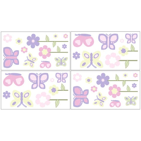 Sweet Jojo Designs Pink and Purple Butterfly Peel and Stick Wall Decal Stickers Art Nursery Decor (Set of 4)
