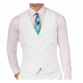 Bar III NEW Bright White Mens Size 42S Short Cotton Four Button Vest