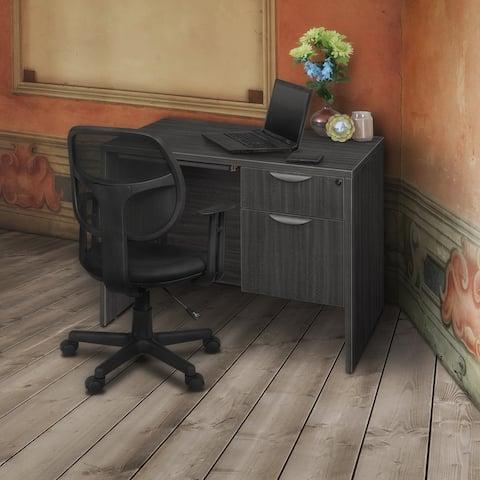"Legacy 42"" Single Pedestal Desk with Pencil Drawer- Ash Grey"