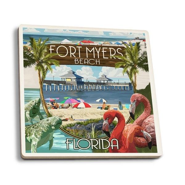 Fort Myers, FL - Montage Scenes - LP Artwork (Set of 4 Ceramic Coasters)