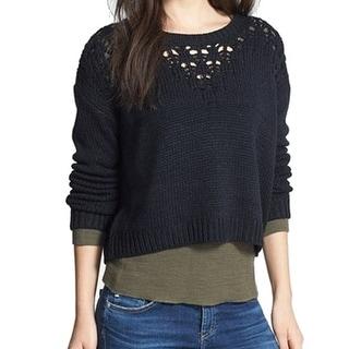 Hinge NEW Black Women's Size Small S Crewneck Pointelle Knit Sweater