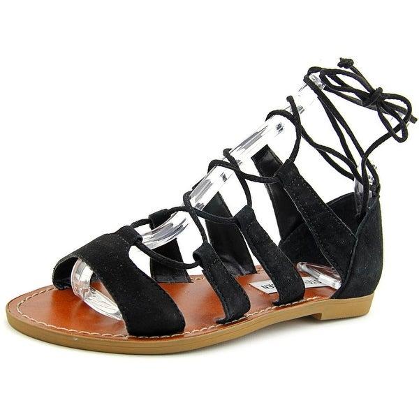 Steve Madden Sanndee Women Open Toe Leather Black Gladiator Sandal