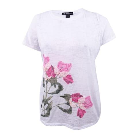 INC International Concepts Women's Plus Size Embellished Floral-Print T-Shirt - White
