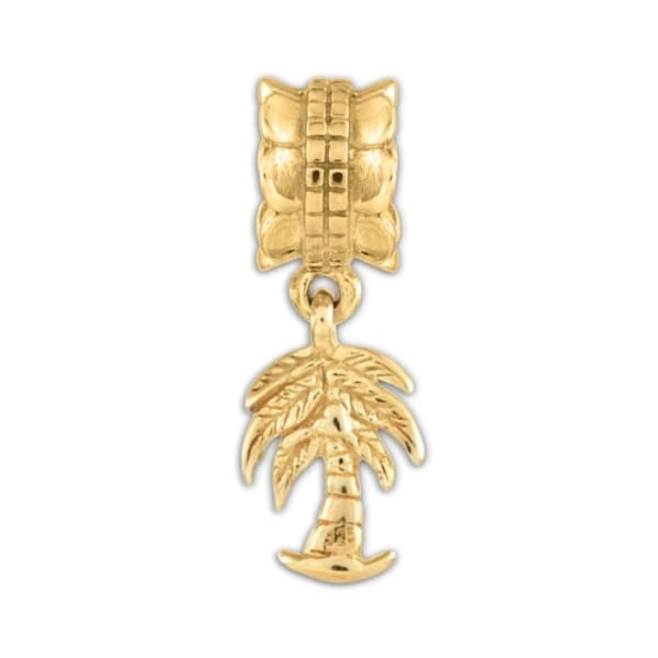 Sterling Silver Reflections Gold-plated Palm Tree Dangle Bead (4mm Diameter Hole)