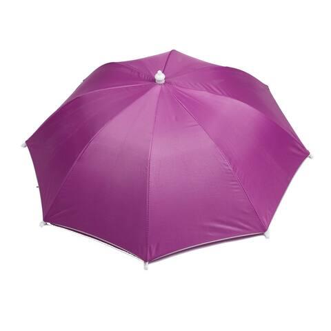 """Unique Bargains Men Women 28"""" Diameter Foldable Fishing Umbrella Cap Hat Fuchsia"""
