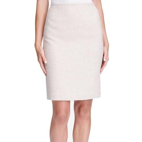 Calvin Klein Womens Skirt Beige Size 4P Petite Straight Pencil Tweed