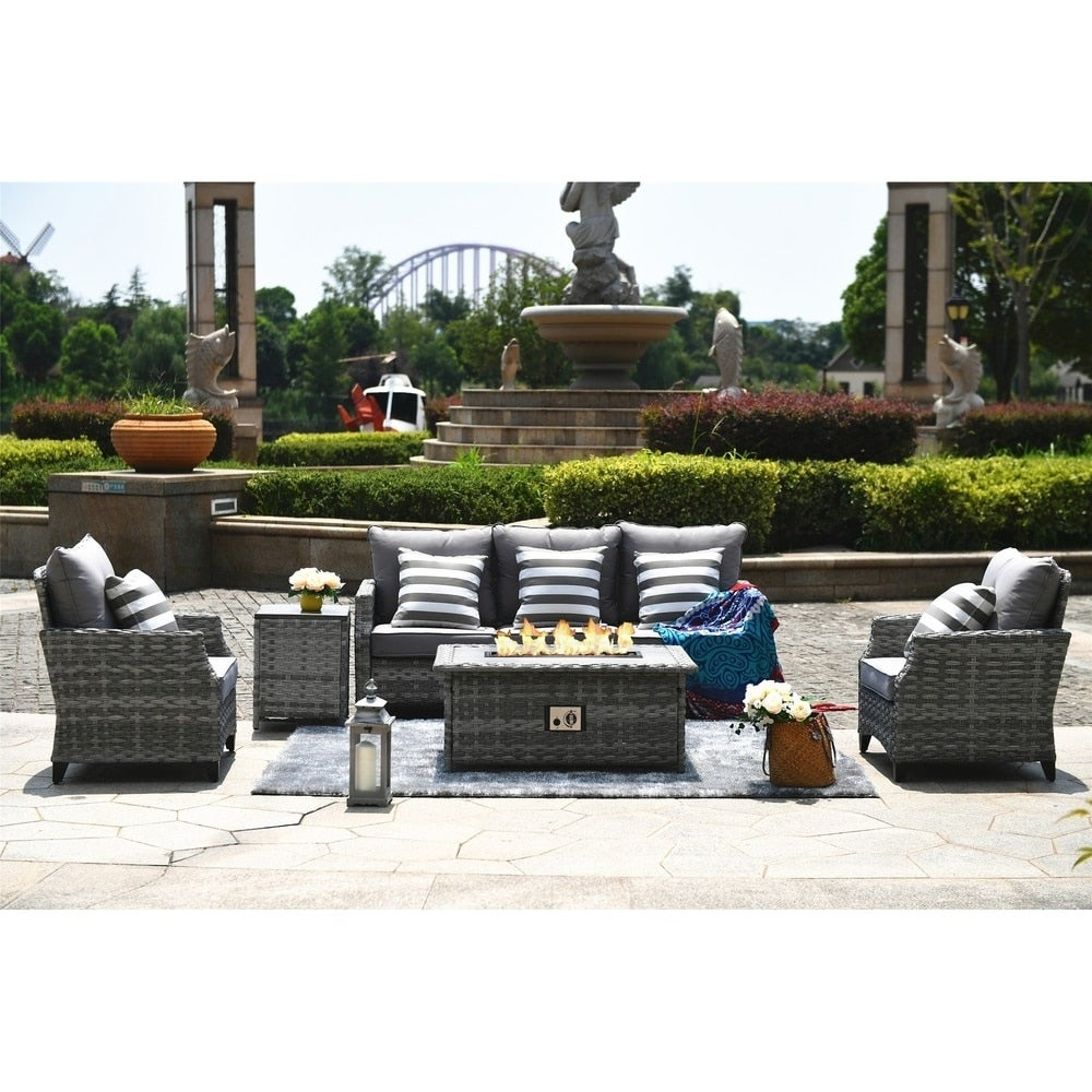 Braylee 5 Piece Cushioned Patio Sectional Set With Fire Table On Sale Overstock 30512266