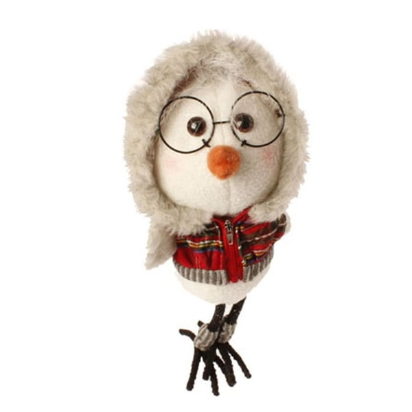 """9"""" Large White Bird with Red Plaid Faux Fur Trimmed Hoodie and Leg Warmers Christmas Ornament"""