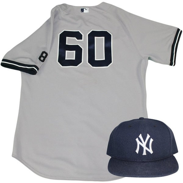 superior quality e612b f6284 Gary Tuck Set NY Yankees 2015 GameUsed 60 Road Jersey w Yogi Berra 8  Commemorative Patch Hat Set