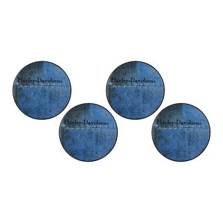 Harley-Davidson Blue Metal Collection 4 Pack Coasters