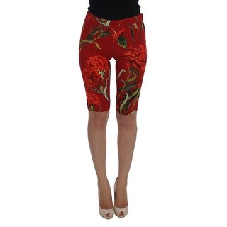 Dolce & Gabbana Dolce & Gabbana Stretch Red Roses Tights Shorts - it36-xs