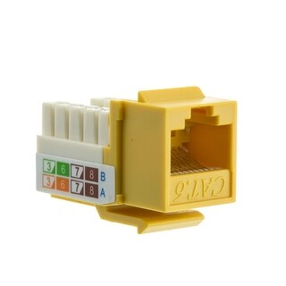 Offex Cat6 Keystone Jack, Yellow, RJ45 Female to 110 Punch Down