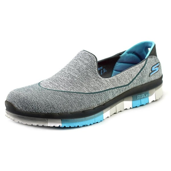 Skechers Go Flex Women Round Toe Canvas Gray Loafer