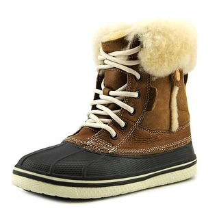 Crocs AllCast Luxe Round Toe Leather Winter Boot