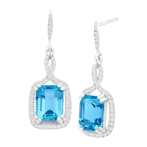 5 3/4 ct Natural Swiss Blue Topaz & 1/3 ct Diamond Drop Earrings in 14K White Gold